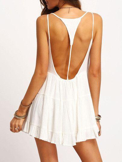 921fd8d70041 White Spaghetti Strap Backless Dress