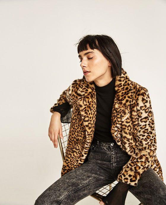 Image 1 of LEOPARD FAUX FUR COAT from Zara