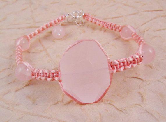Pink Rose Quartz and Satin Cord Macrame by SerendipityFinch, £10.00