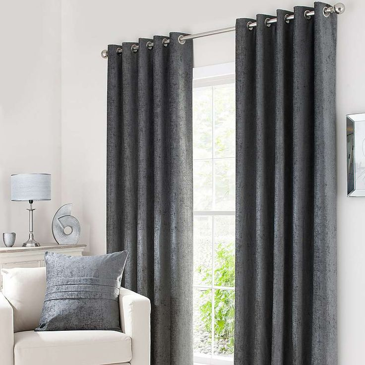 Grey Chenille Lined Eyelet Curtains | Dunelm