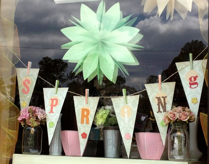 Handmade Spring banner for the window display at the TrulyTina Boutique.   garland, bunting, pennant, flag