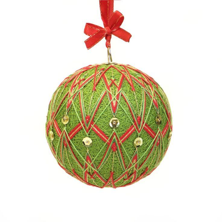 Christmas ornment inpired on Japanese art temari. Pattern - CHRISMAS SPIRIT. Handmade by JoeyART.