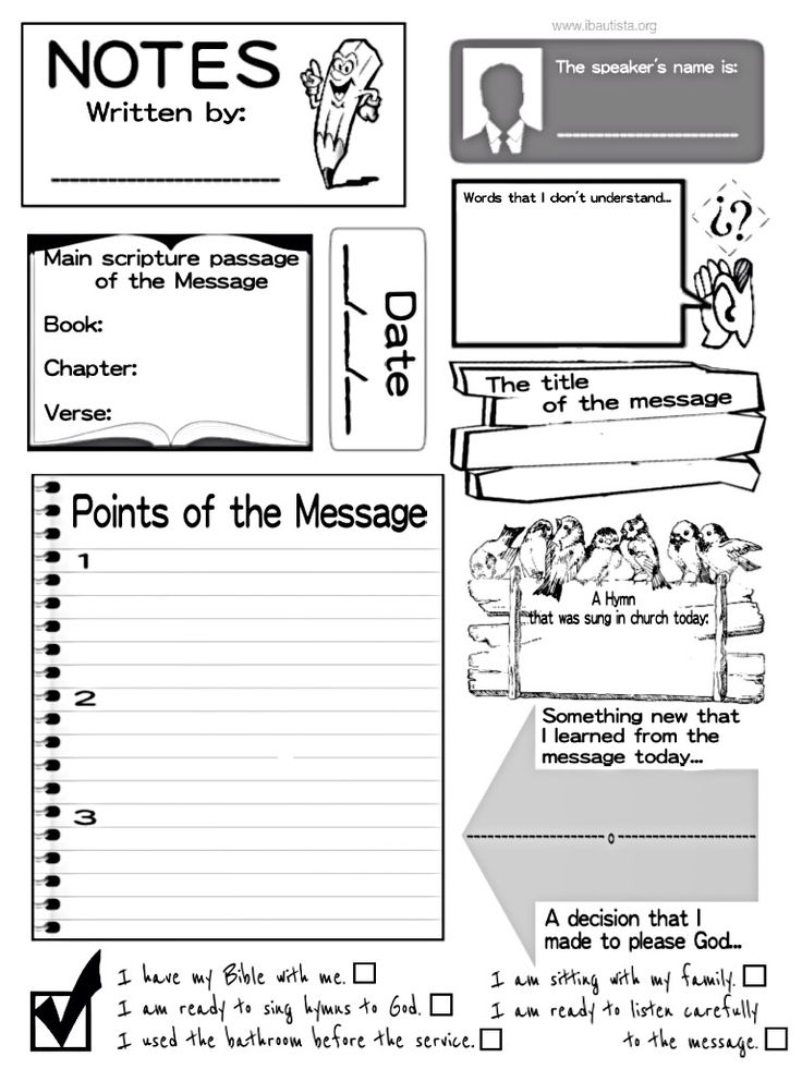 Sermon notes for kids! One of the best ways to help kids retain the information heard during a sermon, message or devotional is to have them take notes. It also gives them something to due and helps them avoid distractions and the temptation to be disruptive. Please feel free to use and share. Notes, note taking, kids, sermon, message, attention, Bible, church