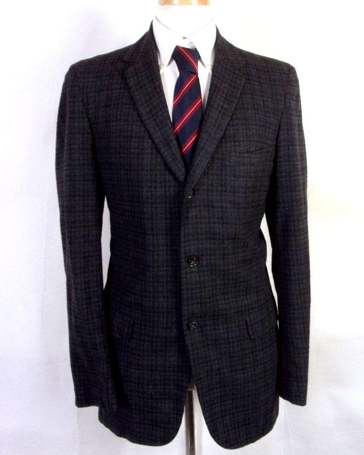 vtg 1950s 50s Hardwick Clothes Gray Plaid 100% Wool Tweed Blazer 3 Button 40 L