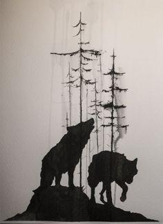 tree and wolf Tattoo Design - I want Tattoo | I want Tattoo