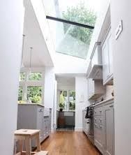 kitchen right angled pitched roof side return extensions with kitchen island - Google Search