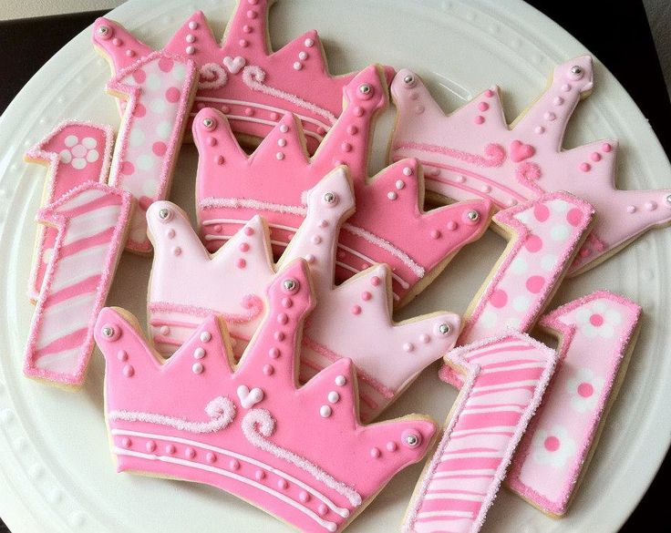 Decorated Princess Tiara/Crown and Number Cookies, Perfect for a princess birthday party. $42.00, via Etsy.