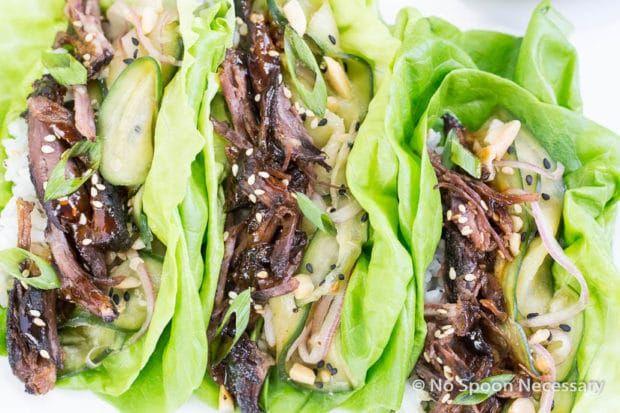 Slow Cooker Korean Beef Short Rib Lettuce Wraps