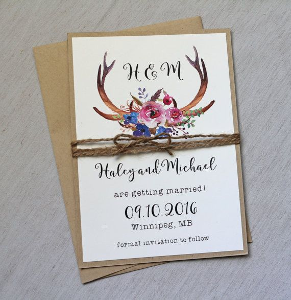 Rustic Wedding Save the date, Floral Wedding Save the date card, Country Wedding…