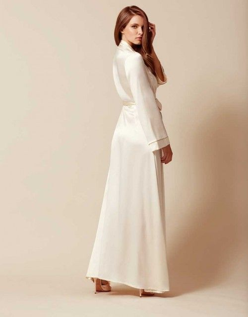 Classic Long Dressing Gown Ivory
