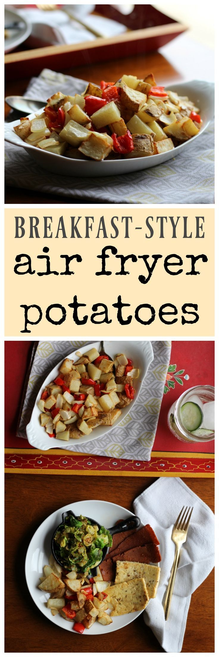 Breakfast-style air fryer potatoes: Make your morning meal easy with this delicious simple vegan and gluten-free recipe. | cadryskitchen.com
