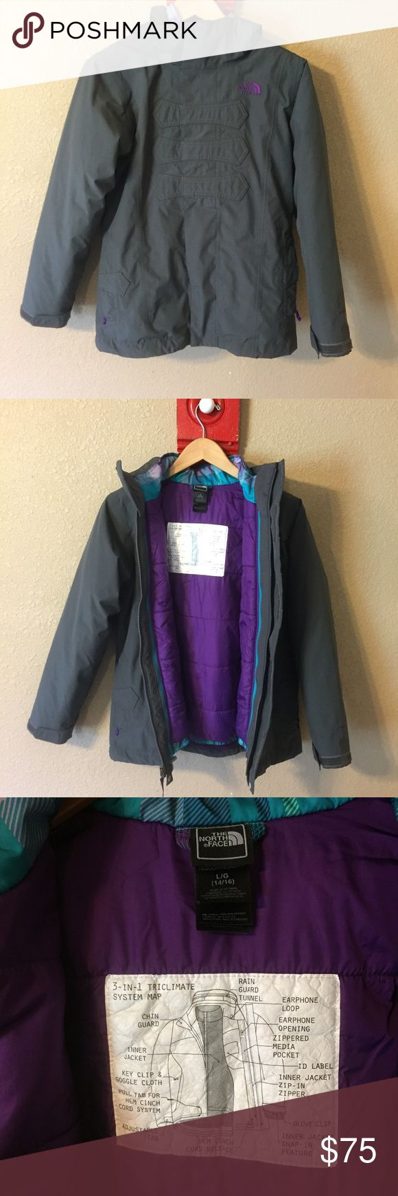 Girls North Face 3in1 Triclimate A coat/jacket/heavier coat all in one. Wear them together for a full hooded coat or separate for a lighter hooded jacket or the puffer packet for a lighter coat. Great coat, my daughter just didn't care for it. North Face Jackets & Coats