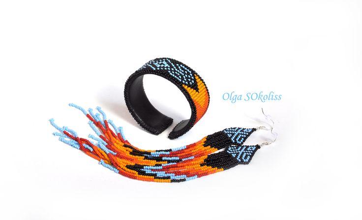 sokoliss браслет из бисера серьги из бисера длинные серьги браслет на металлической основе этно американские индейцы