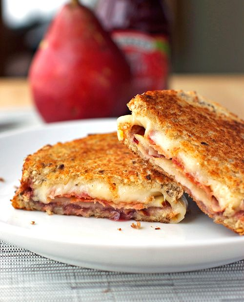 Bacon, Pear, and Raspberry Grilled Cheese - Pinch of Yum