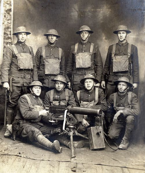 M1917: A group of American soldiers pose with a M1917 Browning machine gun, c. 1917.
