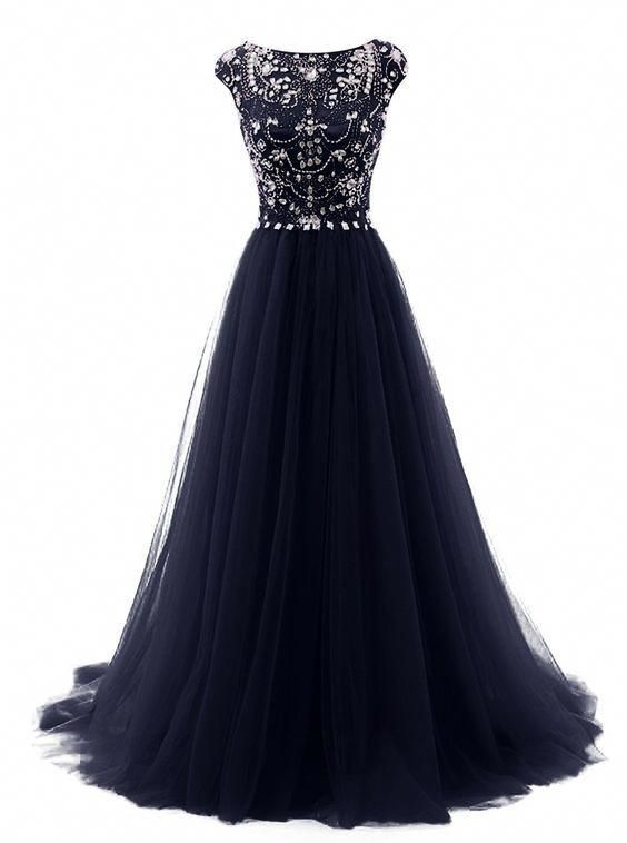 914ccac017 Dark Blue Beaded Bateau Tulle Open Back prom dresses 2017 new style prom  dress fashion evening