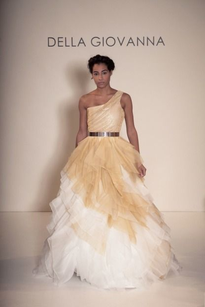 Gold and white tulle gown: http://www.stylemepretty.com/lookbook/designer/della-giovanna/ #SMPLookBook