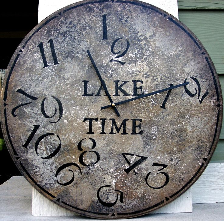 18 Inch Lake Time Clock In Bold Earthy Shades Highlighted With Jumbled Numbers