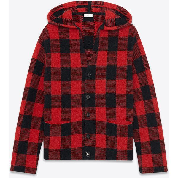 Saint Laurent Hooded Cardigan In Black And Red Plaid Wool And Alpaca ($1,289) ❤ liked on Polyvore featuring men's fashion, men's clothing, men's sweaters, black, mens hooded sweater, mens wool cardigan sweaters, mens cardigan sweaters, mens button down cardigan sweaters and mens wool sweaters