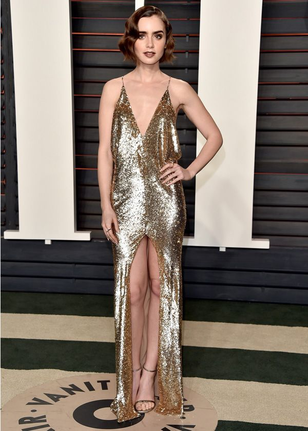 Lily Collins no afterparty do Oscars 2016