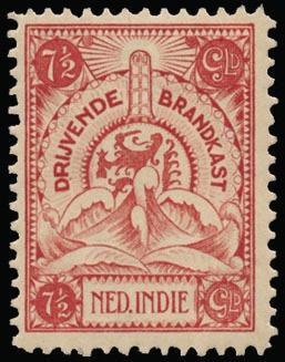Netherlands Indies - Brandkast N° 1/7, luxe reeks, met originele gom (NVPH Euro 300)    Dealer  Van Looy Stamp Auctions    Auction  Minimum Bid:  74.00EUR