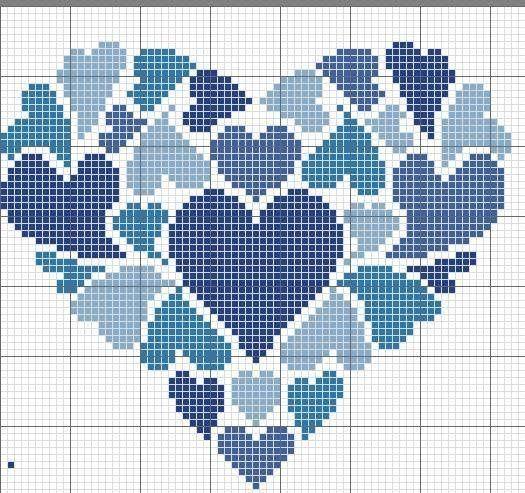 Un mural de corazones azules en punto de cruz para descargar.