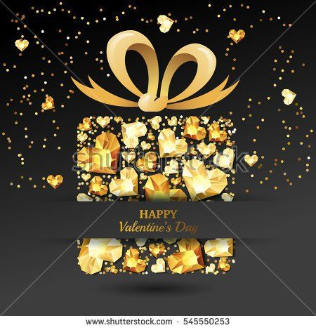 Valentines day vector greeting card. Gift box with 3d gold heart diamonds, gems, jewels, bow ribbon. Design for banner, party invitation, flyer for gift shop. Golden holiday poster with jewels.