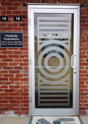 Custom Cut Etched Vinyl Window Door Graphics Sign produced with enthusiasm  by Redirections Sign & Design