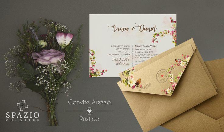 Convite de Casamento no papel kraft - Floral e aquarela