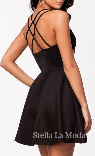 Plunging Neck Multi-strap Cross Back Black Skater Dress