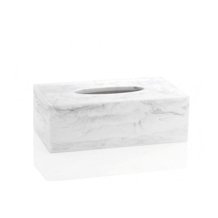 Boîte À Mouchoirs En Résine Effet Marbre Blanc – Taille : Taille Unique