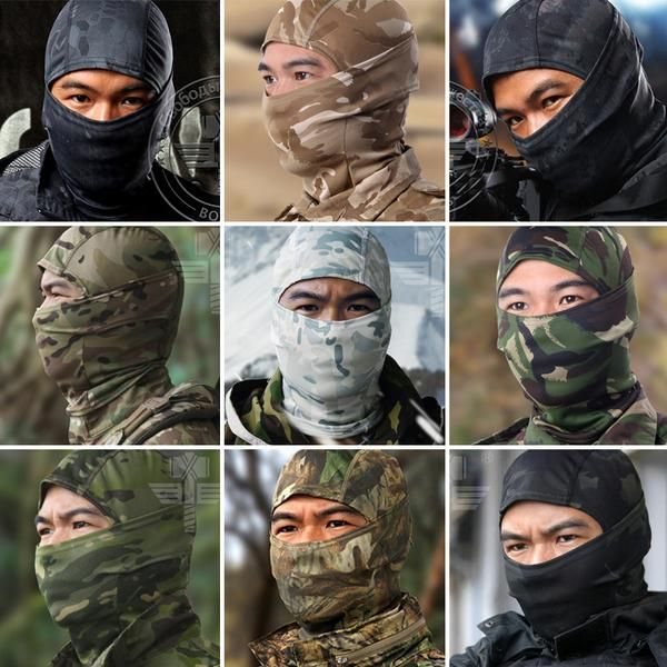 FuzWeb:18 Style Tight Multicam Camouflage Balaclava Tactical Airsoft Paintball Motorcycle Bicycle Army Helmet Protection Full Face Mask