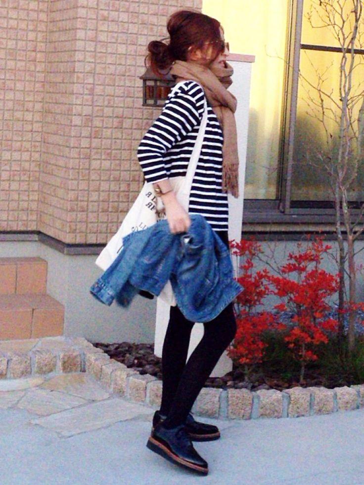 Deuxieme ClasseのTシャツ/カットソーを使ったmayumiさんのコーディネートです。│パンツはH&M。未だにマタニティ履い...