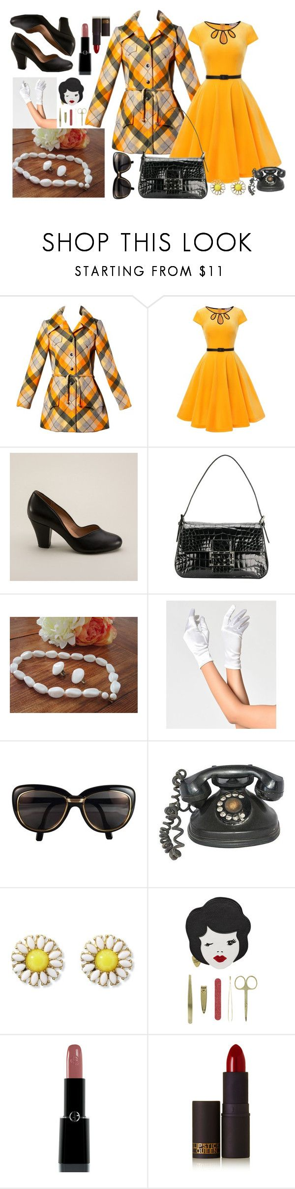 """Vintage"" by chalotteleah on Polyvore featuring André Laug, Royal Vintage, Fendi, Cartier, Tatty Devine, Giorgio Armani, Lipstick Queen and vintage"