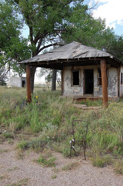 Route 66 Ghost Town, Glenrio, Texas became a ghost town in 1973 when the interstate bypassed the town.