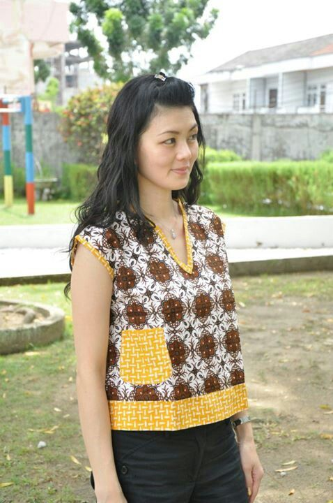batik blouse - brown, yellow