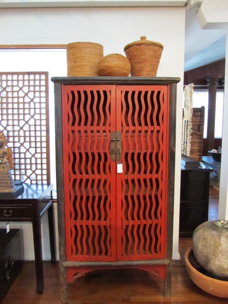 Red Slatted Chinese Cabinet
