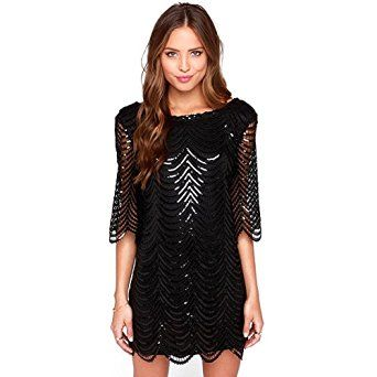 Womens Dress In Sequins Short