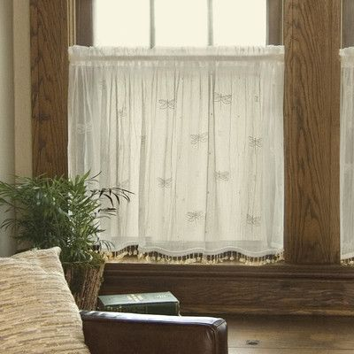 "August Grove Kelsie Tier Curtain Color: White, Size: 45"" x 36"""