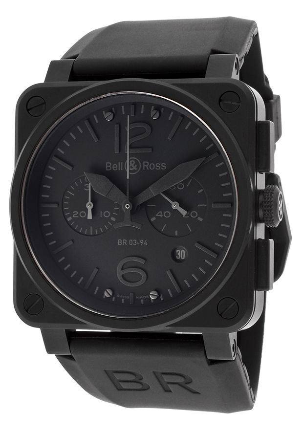 Bell & Ross Men's Aviation Automatic Chronograph Black Rubber Blackout Dial