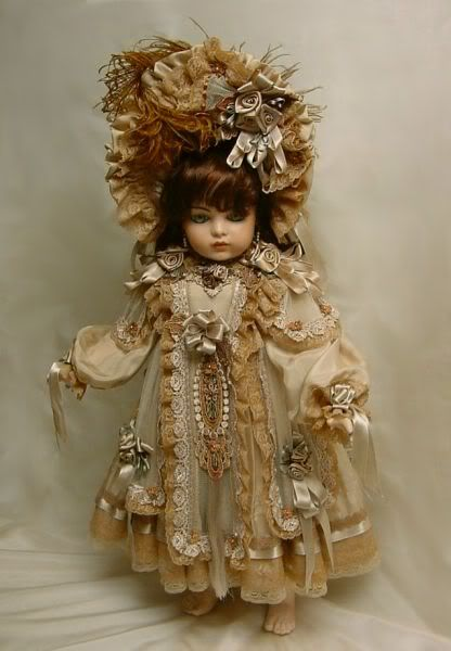 """Doll Dress for 24"""" taupe w/ brown ♥ Dollightfully Yours ♥ by Cheryl Imbornone"""