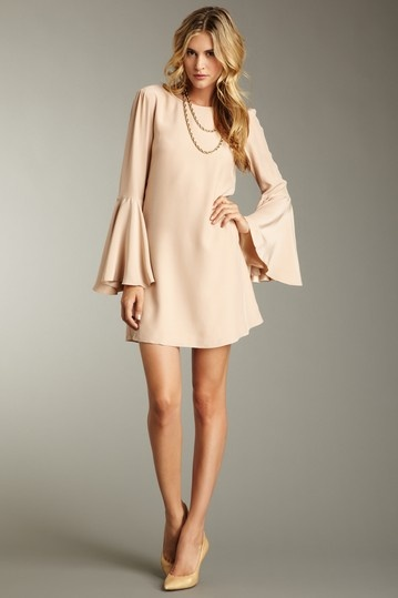 chic silk dress.. love the soft nude color