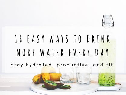 16 Easy Ways To Drink More Water  If you want to look better, feel better, become more productive and lower your chances of different types of cancer, drinking enough water might be just the way to do it!  But: how much is 'enough'? And are there any easy ways to drink more water every day? YES! This list of 16 tricks will help you drink all the water you need and make you feel SO MUCH BETTER. Try it now!