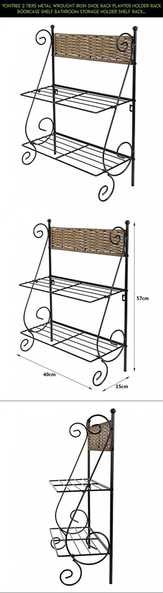 Yontree 2 Tiers Metal Wrought Iron Shoe Rack Planter Holder Rack Bookcase Shelf Bathroom Storage Holder Shelf Rack Black with Little Bamboo Fence Design-15.7x6x22.5 In. #kit #plans #technology #products #camera #gadgets #racing #fpv #shelves #shopping #storage #parts #drone #6 #tech