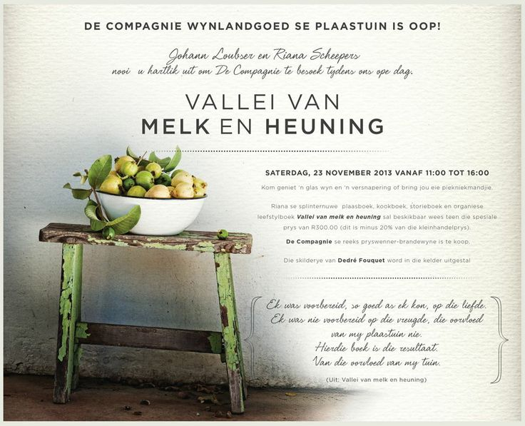 "Riana Scheepers' brand-new book ""Vallei van Melk en Heuning"" will be available at a wine, picnic and art offering at De Compagnie in Wellington on Saturday, November 23."