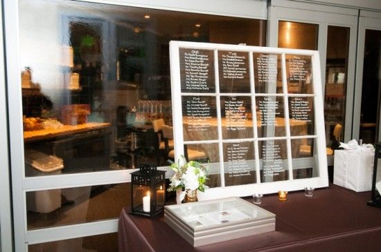 Use a vintage window instead of escort cards to direct guests to their tables