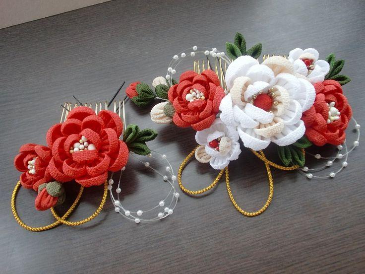 Japanese hair accessory. camellia