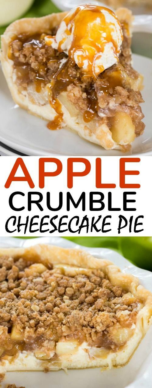 Apple Cheesecake Pie has layers of creamy cheesecake and sweet cinnamon apple pie filling are topped with a crunchy oat topping to make this a flavor and texture explosion in every bite!