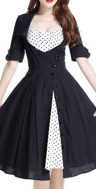 Rockabilly Side Button Polka-Dot Bow Dress by Amber Middaugh Standard Size $55.95 Plus Size $65.95