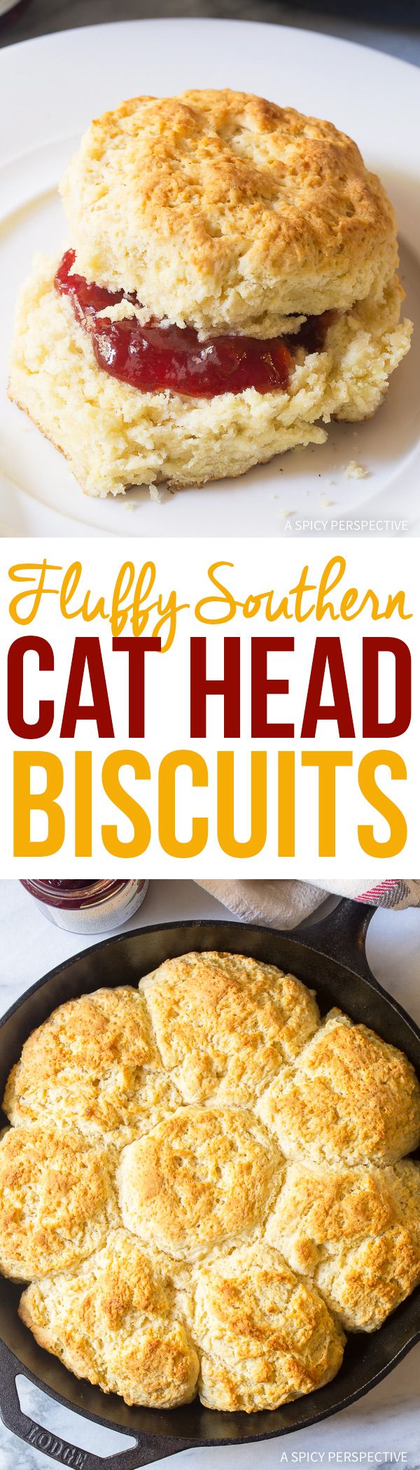 Fluffy Southern Cat Head Biscuits Recipe - The biggest, softest, most amazing biscuit recipe with buttery golden tops! Flaky on the outside, pillowy on the inside! via @spicyperspectiv